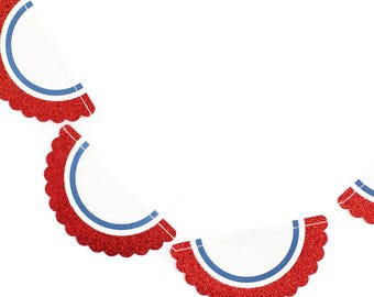 SALE ~ Stars and Stripes Mini Banner Bunting   Red White and Blue Banner   4th of July Banner   Memorial Day Bunting   Patriotic Bunting
