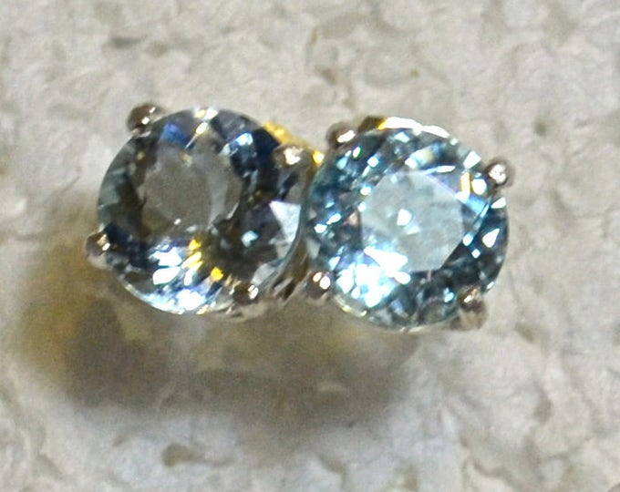 Aquamarine Earrings, Large 8mm Round, Natural, Set in Sterling Silver E1030
