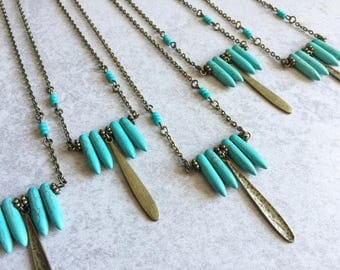 Turquoise Spike Necklace - Hammered Bronze Charms, Blue Howlite Spikes, Turquoise Beads, Layering Necklaces, Bronze Chain, Southwestern Chic