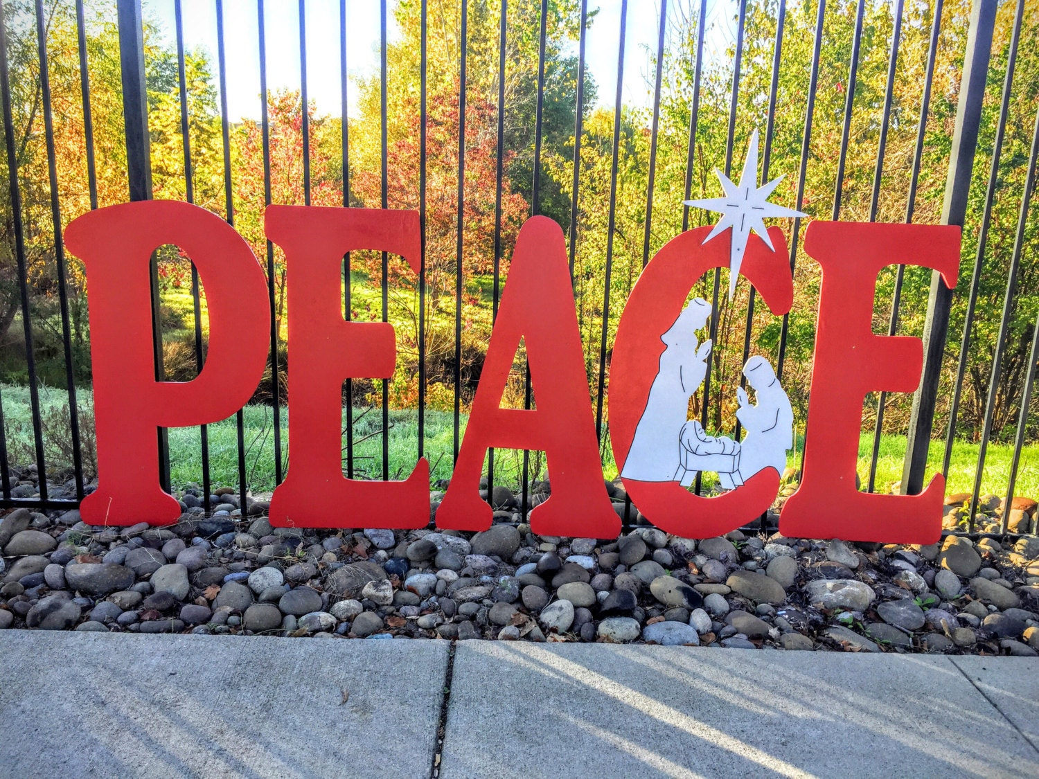 Peace christmas sign with engraved nativity yard art sign for Outdoor christmas signs
