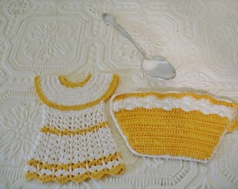 Two 1950s Cottage Style Hand Crochet Yellow and White Cotton Thread Potholder Dress and Tea Cup