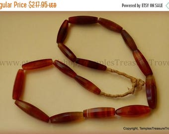 Sale Antique Idar Oberstein Facetted Red Carnelian Banded Agate Ready to Wear Sixteen Bead Strand