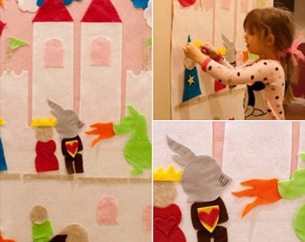 Kids Felt Wall Princess in the Castle. Learning Sensory Activity Play Montessori Waldorf Preschool Home School Fairy Tale Bedroom Decor Gift