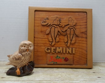 Gemini wood wall plaque, vintage, 1970s Astrology, zodiac