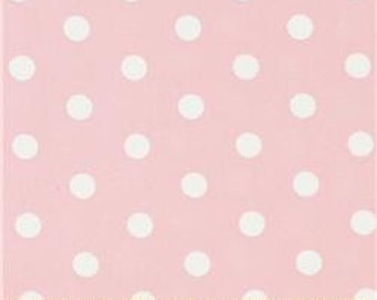 Handmade Curtain Valance 44W x 15L in Pale Pink/White Polka Dots, Clearance