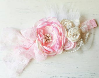 Pink ivory Couture Baby girl headbands, pink couture, vintage headband, newborn headband, Photo prop