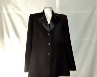 Sz 12 Tuxedo Jacket Blazer - Le Suit - Black Satin Lapels - Formal