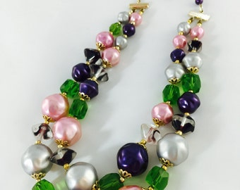 Double Strand Pastel Beaded Necklace, Pink Silver Purple Green and Gold Glass Bead and Faux Pearl Necklace