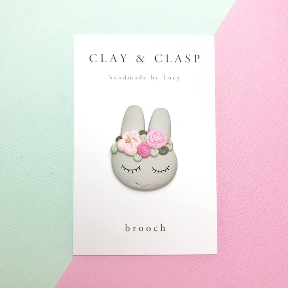 Bunny Brooch - beautiful polymer clay jewellery by Clay and Clasp