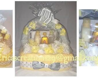 Yellow Rectangular basket diaper cake