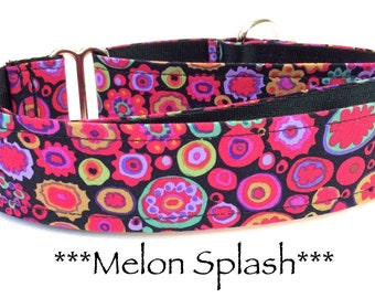 Martingale Dog Collar, Dog Collar, Adjustable Dog Collar, Custom Dog Collar, Retro, Modern, Geometric, Bright, Melon Splash