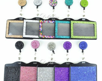 Full Bling Rhinestone  2 In 1 Horizontal ID Badge Holder and Retractable Reel with Belt clip