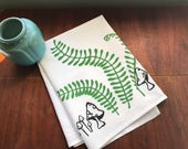 hand printed tea towel, ferns, mushrooms, green, gray, flour sack towel, green tea towel, woodland, hostess gift under 50, shower gift under