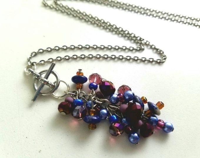 Interchangeable Purple Violet Blue Beaded Cluster Toggle Pendant