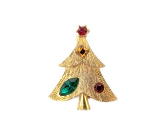 Vintage Christmas Brooch, Pin, 1960's Weiss Vintage Christmas Tree Brooch, Christmas Tree Pin, Holiday, 1960's Christmas Jewelry