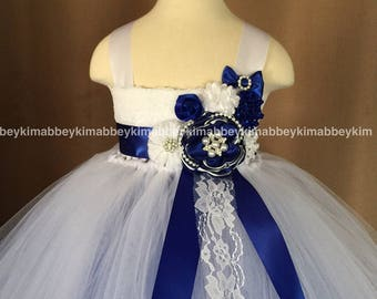 beautiful flower girl tutu dress in royal blue and white