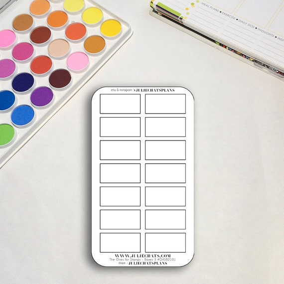 Blank Planner Sticker Sheet, The Ones for Stamps Boxes 2, Rectangles, Erin Condren, Happy Planner, Traveler's Notebook, Get to Work Book