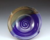 Handmade Stoneware Pottery Bowl Blue and  Brown by Mark Hudak