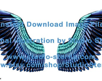 Drawing fantasy bird angel wing design feathers color 2 black blue watercolor instant download image file print cut make create dolls