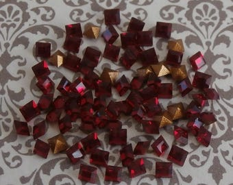 2x2 MM Square SIAM Swarovski Crystals ~ 10 Pieces Per Order ~ Foil Back ~ 1st Quality ~ Siam Ruby ~ Vintage Swarovski Jewelry Components