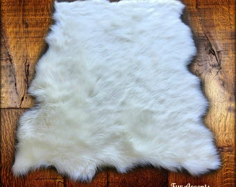 Plush Faux Fur Area Rug - Tattered Edge - Sheepskin - Pelt Shape Designer Throw - 6 Colors -Art Rug by Fur Accents - USA