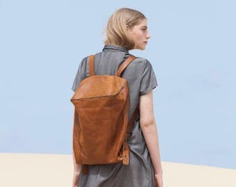 Brown Leather Backpack, Laptop Bag, Travel Bag, School Bag, Honey Brown Leather Bag, Handmade - Honey Brown Lou