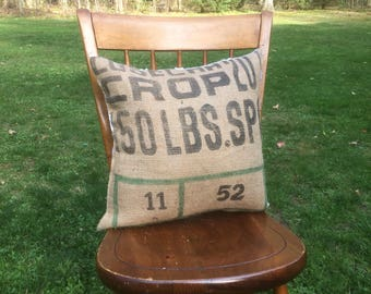 Farmhouse Pillow, Coffee Sack Pillow, Burlap Pillow, Burlap & Lace, rustic pillow, coffee beans sack, grain sack pillow