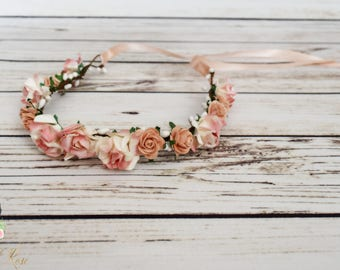 Handcrafted Peach and White Flower Crown - Flower Girl Halo - Peach Wedding Accessory - Woodland Halo - Small Flower Crown - Adult Rose Halo