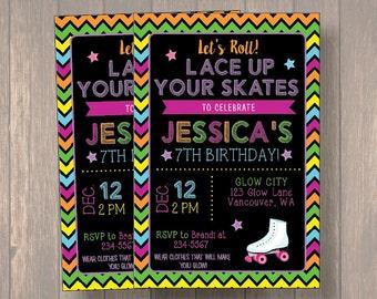 Roller Skating Invitation - Roller Skate Party Invitation - Roller Derby - Glow Roller Skating Invitation - Skating Party - Glow Skate Party