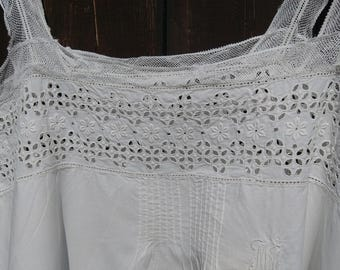 Victorian White Eyelet Lace Dress Handmade French Cotton Slip with Lace on Tulle Monogrammed Medium Large #sophieladydeparis