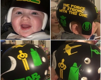 Personalized Cranial Band Bear Skull Crossbones With Paint - Baby helmet decalspersonalized cranial band fairy decals just tinkering