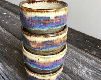 Ceramic Tea cup set of four handmade wheel thrown pottery stoneware tea bowls rainbow