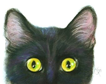 Cat Art, Black Cat Art, Black Cat Peek A Boo, Black Cat Decor