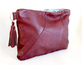Maroon Red Leather Clutch Bag/Purse
