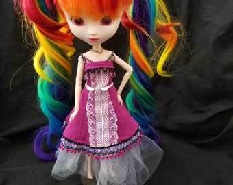 Hand beaded pullip doll dress