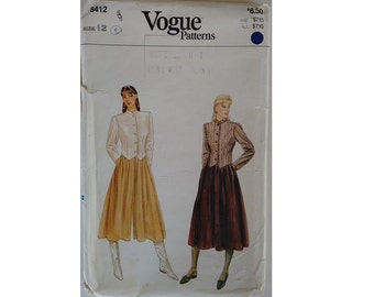 Part UNUSED Vogue #8412 Vintage 80's Tailored Fitted Crop Jacket, Skirt and Culotte Sewing Pattern Size UK 12 Bust 34""