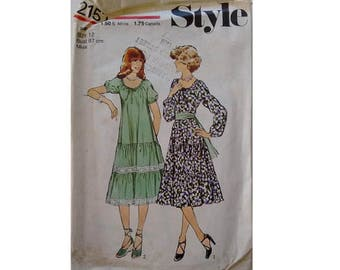 Vintage 70's Style 2157 Sewing pattern Gypsy Dress with Elasticated Neck and Tiered Ruffle Skirt