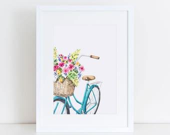 Vintage Bicycle with Flower Basket Fine Art Watercolor Print