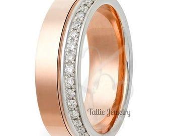 Diamond Eternity Wedding Rings,14K Gold Diamond Wedding Rings,Womens Wedding Bands,Matching Wedding Rings,Two Tone Wedding Rings