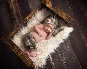 Newborn Hunter Green Plaid • Pillow Pant Hat Set • Newborn 3 Piece Hunter Set | Ready to Ship