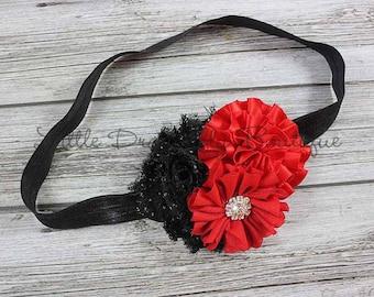 Black and red cluster headband {black polka dot, Christmas headband, red headband}