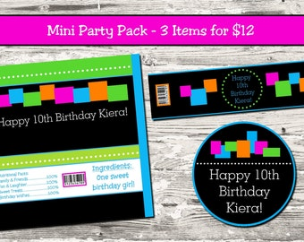 Glow Neon Birthday Party Mini Pack 3 Items Candy Bar Wrapper Water Bottle Label Cupcake Toppers Digital Printable