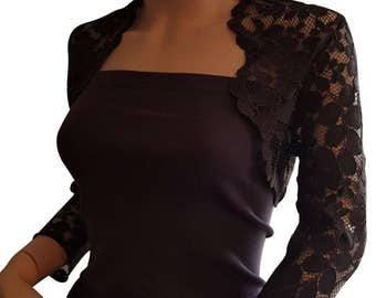Womens Brown or Beige Lace Bolero with 3/4 sleeves in UK sizes 8 to 18