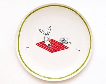 Bunny Watermelon Picnic Hand-Painted Ceramic Dessert Plate