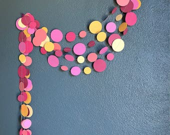 Pink Orange and Peach Paper Garland - Party Decoration - Party Garland - Home Decoration - Circle Bunting - Birthday Decoration