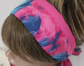 Pink Blue Headband, Pink Cotton Headband, Pink Headband, Pink Blue Hair Bandana, Hair Accessories, Female Headband, Hippie Boho Headband