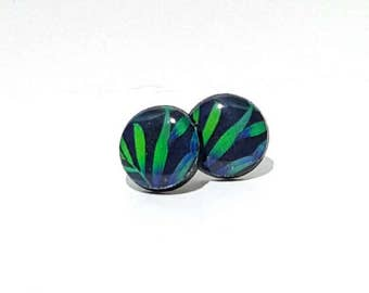 Night Time Palm Leaves Post Earrings