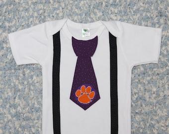 Clemson Onesie, with Tie, Clemson baby, Shirt, Outfit, Newborn, Bodysuit, Creeper, Wedding, First Birthday 1 T-shirt