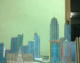 Paper City with 19 Paper Skyscrapers Hand Made 100%