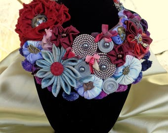 Necklace style Boho , fabric flowers, fashion,moda,ribbonwork, ribbon flowers,